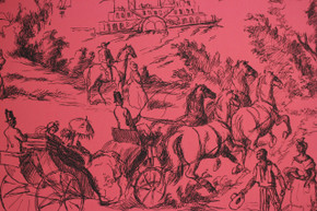 French Toile on Red Vintage Wallpaper