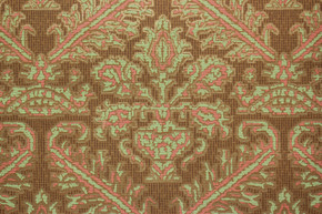 1970's Vintage Wallpaper Damask Design Coral and Green on Brown