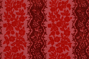 1970's Vintage Wallpaper Red and Pink Flocked