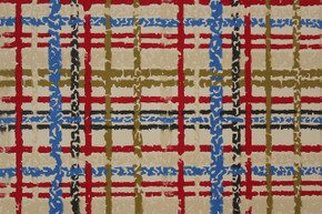 Vintage Wallpaper 1960's Red Blue and Black Plaid