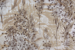 1970's Vintage Wallpaper Brown and Beige Flowers on Foil