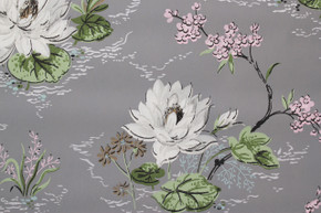 1940's Vintage Wallpaper White Lilies on Gray