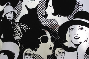 1970's Vintage Wallpaper Flocked Mylar Seventies Glam
