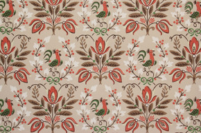 1950's Vintage Wallpaper Orange and Brown Flowers and Birds