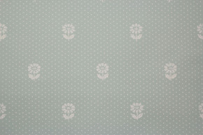 1950's Vintage Wallpaper Small White Flowers on Aqua Swiss Dot