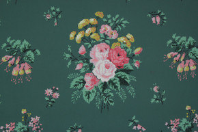 1950's Vintage Wallpaper Pink and Yellow Floral Bouquets