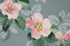 1950's Vintage Wallpaper Pink Magnolia on Blue Gray