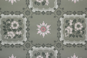 1940's Vintage Wallpaper Pink and White Floral Squares on Green