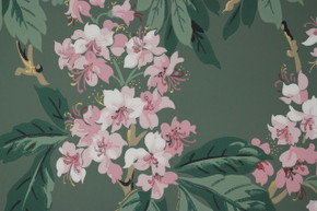 1950's Vintage Wallpaper Pink Floral on Green