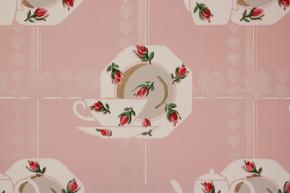 1940's Vintage Wallpaper Afternoon Tea Pink Rosebuds