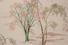 1950's Vintage Wallpaper Scenic Trees Mountains