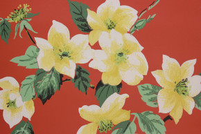 1950's Vintage Wallpaper Yellow Flowers on Dark Orange