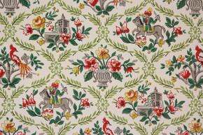 1950's Vintage Wallpaper Red and Green Flowers Birds