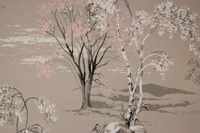 1950's Vintage Wallpaper Scenic Trees Mountains Beige
