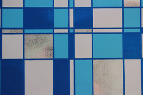 1970's Vintage Wallpaper Mylar Blue and White