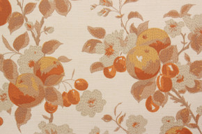 1970's Vintage Wallpaper Fruit Flowers Orange