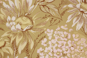 1970's Vintage Wallpaper Large Flowers on Green