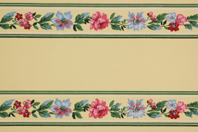 1940's Vintage Wallpaper Border Pink Rose Floral on Yellow