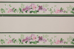 1940's Vintage Wallpaper Border Purple Flowers