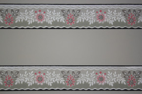 1940's Vintage Wallpaper Border Pink Flowers on Gray