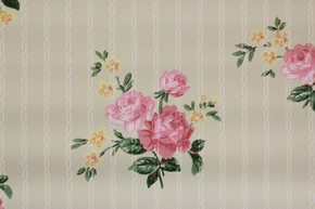 1940's Vintage Wallpaper Pink Roses on Light Green