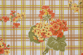 1970's Vintage Wallpaper Geraniums on Plaid