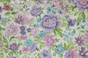 1970's Vintage Wallpaper Purple and Aqua Flowers