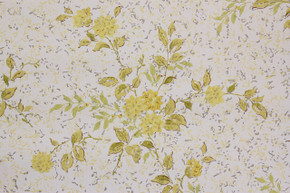 1970's Vintage Wallpaper Retro Yellow Flower Bouquets