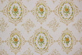 1970's Vintage Wallpaper Yellow Rose Cameo