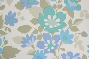 1970's Vintage Wallpaper Retro Blue and Green Flower