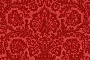 1970's Vintage Wallpaper Red Flocked Damask