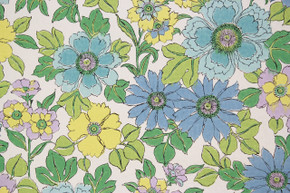 1970's Vintage Wallpaper Retro Blue and Green Flowers
