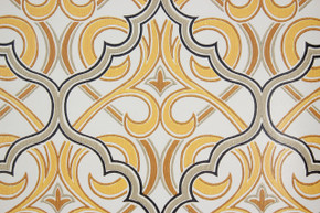 1970's Vintage Wallpaper Retro Black and Yellow Geometric Design