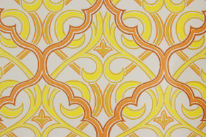 1970's Vintage Wallpaper Retro Orange and Yellow Geometric Design