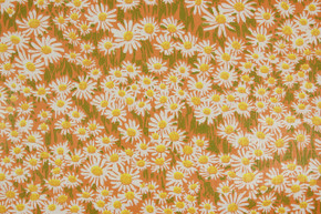 1970's Vintage Wallpaper Retro Daisies on Orange