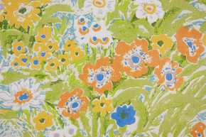 1970's Vintage Wallpaper Retro Blue Orange and Yellow Flowers