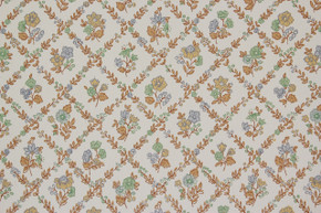 1970's Vintage Wallpaper Blue Green and Brown Floral Geometric