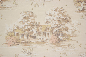 1950's Vintage Wallpaper Scenic Houses on Beige