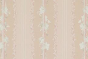 1950's Vintage Wallpaper White Leaves on Pink Stripe