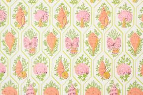 1970's Vintage Wallpaper Pink Orange Sea Shells