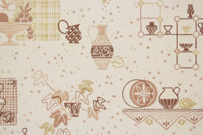 1950's Vintage Wallpaper Brown Kitchen with Gold Metallic Accents