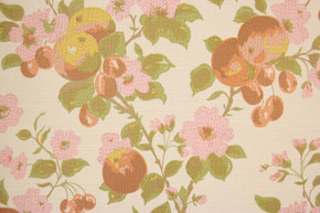 1970's Vintage Wallpaper Cherries and Pink Flowers II
