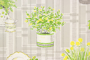 1970's Vintage Wallpaper Yellow Flowers on Gray
