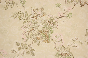 1960's Vintage Wallpaper Pink Green Leaves