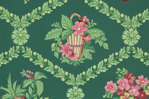 1940's Vintage Wallpaper Pink Yellow Bouquets Fruit