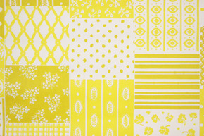 1970's Retro Vintage Wallpaper Yellow Patchwork Vinyl