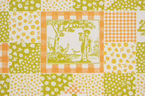 1970's Retro Vintage Wallpaper Orange Green Scenic Geometric