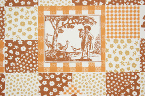 1970's Retro Vintage Wallpaper Orange Brown Scenic Geometric