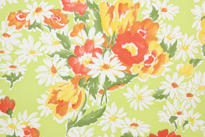 1970's Retro Vintage Wallpaper Red Flowers Daisies on Bright Green Vinyl