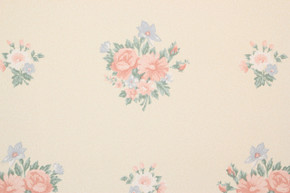 1980's Retro Vintage Wallpaper Pink Blue Bouquets